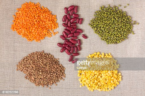 Lentils and beans of various colors. Top view : Stock Photo