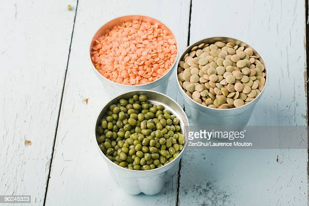 Lentils and mung beans in canisters
