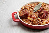 traditional lentils and spanish chorizo stew or soup
