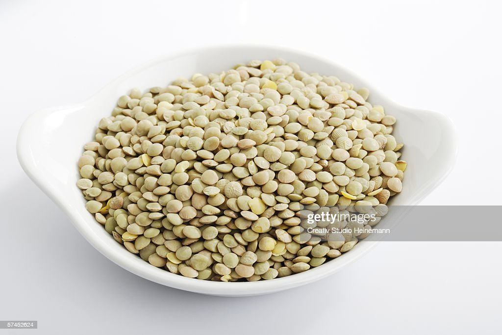 Lentils, elevated view, close-up