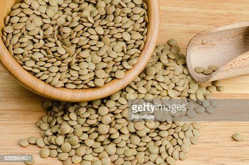 lentils, on wood, background, close up : Stock Photo
