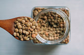 Lentils in a glass bowl