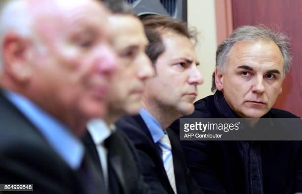 l'entraîneur du club de football FC Metz Francis De Taddeo participe à une conférence de presse à l'issue d'un conseil d'administration exceptionnel...