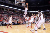 Lenzelle Smith Jr #32 of the Ohio State Buckeyes drives the lane for a dunk against the Walsh Cavaliers in the first half on November 3 2013 at Value...