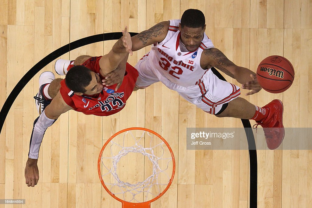 Lenzelle Smith Jr. #32 of the Ohio State Buckeyes goes up for a shot against <a gi-track='captionPersonalityLinkClicked' href=/galleries/search?phrase=Grant+Jerrett&family=editorial&specificpeople=7887154 ng-click='$event.stopPropagation()'>Grant Jerrett</a> #33 of the Arizona Wildcats in the second half during the West Regional of the 2013 NCAA Men's Basketball Tournament at Staples Center on March 28, 2013 in Los Angeles, California.