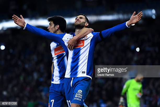 Leo Baptistao of RCD Espanyol celebrates with his team mate Gerard Moreno after scoring his team's second goal during the La Liga match between RCD...