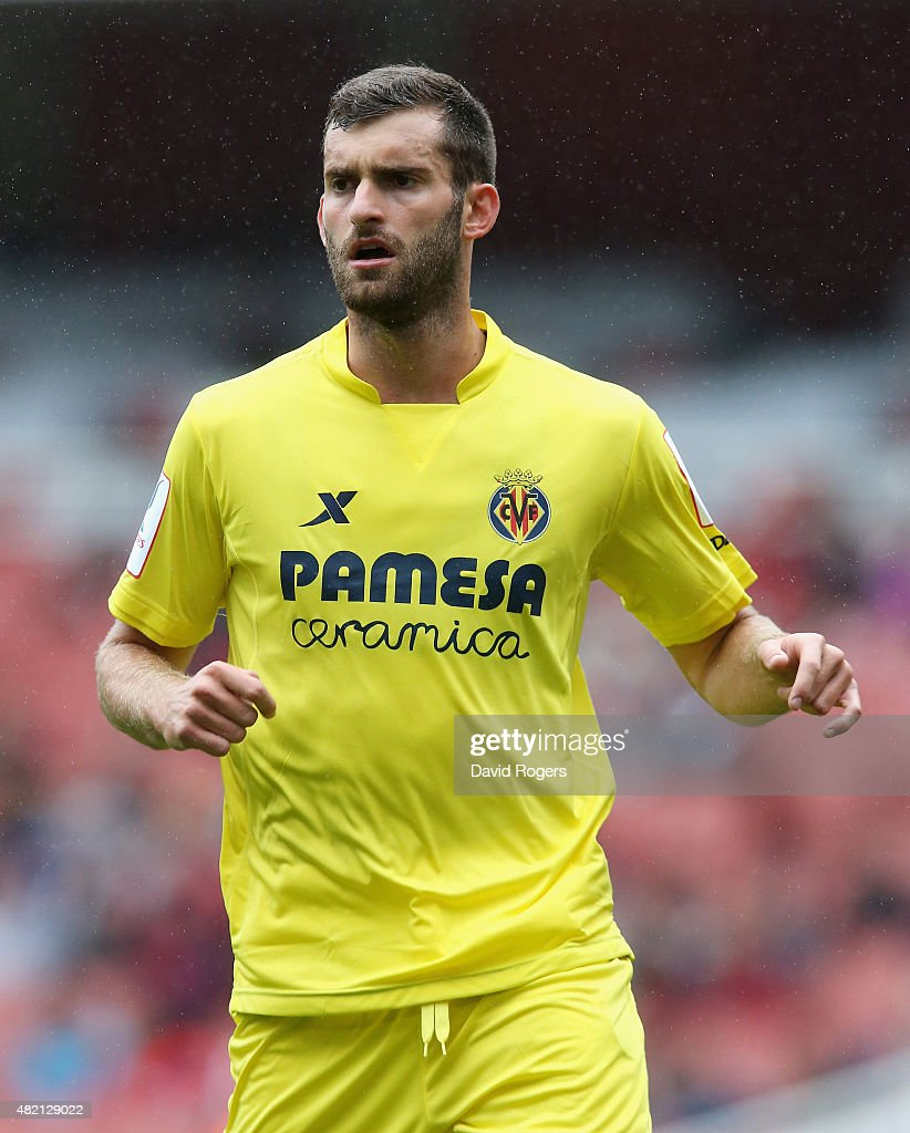 Leo Baptistao of Villarreal looks on during the Emirates Cup match between Olympique Lyonnais and Villarreal at the Emirates Stadium on July 26 2015...