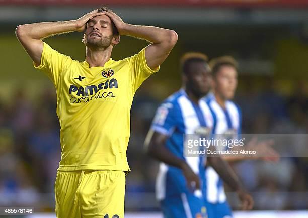 Leo Baptistato of Villarreal reacts during the La Liga match between Villarreal CF and RCD Espanyol at El Madrigal Stadium on August 28 2015 in...