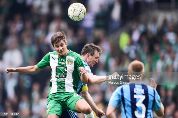 Leo Bengtsson of Hammarby IF and Kim Kallstrom of Djurgardens IF in a header duel during the Allsvenskan match between Hammarby IF and Djurgardens IF...
