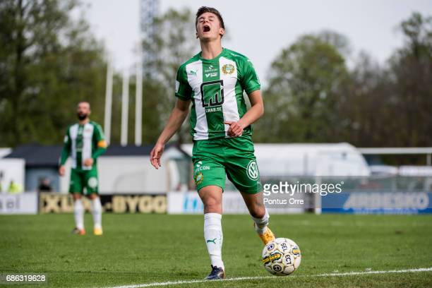 Leo Bengtsson of Hammarby IF reacts when he miss the ball during the Allsvenskan match between IK Sirius FK and Hammarby IF at Studenternas IP on May...