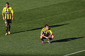 Leo Bertos and Mirjan Pavlovic of the Phoenix dejected after losing the round 25 ALeague match between the Wellington Phoenix and the Central Coast...