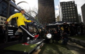 Leo Bertos kicks a ball at a target during the launch of the new Wellington Phoenix kit on August 10 2011 at Midland Park in Wellington New Zealand