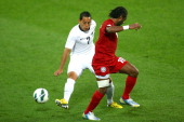 leo Bertos of the New Zealand All Whites looks to pass during the FIFA World Cup Qualifier match between the New Zealand All Whites and New Caledonia...