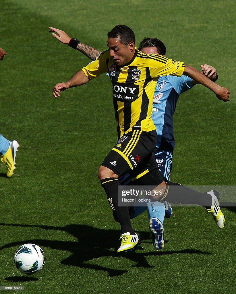 Leo Bertos of the Phoenix makes a break during the round 10 A-League match between Wellington Phoenix and Sydney FC at Westpac Stadium on December 9, 2012 in Wellington, New Zealand.
