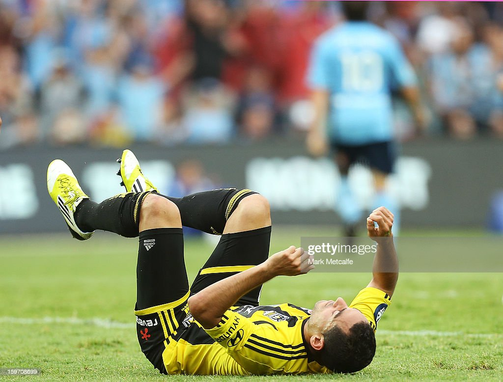 <a gi-track='captionPersonalityLinkClicked' href=/galleries/search?phrase=Leo+Bertos&family=editorial&specificpeople=591591 ng-click='$event.stopPropagation()'>Leo Bertos</a> of the Phoenix reacts to a Sydney goal during the round 17 A-League match between Sydney FC and the Wellington Phoenix at Allianz Stadium on January 19, 2013 in Sydney, Australia.