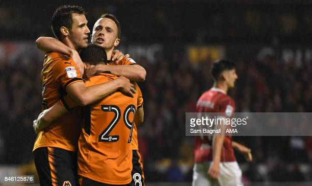 Leo Bonatini of Wolverhampton Wanderers celebrates after scoring a goal to make it 10 with Diogo Jota of Wolverhampton Wanderers during the Sky Bet...