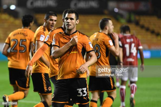 Leo Bonatini of Wolverhampton Wanderers celebrates after scoring a goal to make it 10 during the Sky Bet Championship match between Wolverhampton and...