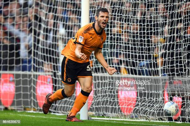 Leo Bonatini of Wolverhampton Wanderers celebrates after scoring a goal to make it 30 during the Sky Bet Championship match between Wolverhampton and...
