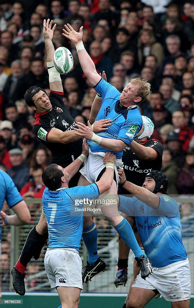 Leo Cullen of Leinster in line out action against <a gi-track='captionPersonalityLinkClicked' href=/galleries/search?phrase=Jean+Bouilhou&family=editorial&specificpeople=572048 ng-click='$event.stopPropagation()'>Jean Bouilhou</a> during the Heineken Cup semi final match between Toulouse and Leinster at Stade Municipal on May 1, 2010 in Toulouse, France.