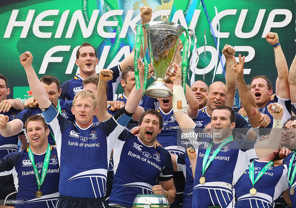 Leo Cullen (L) of Leinster lifts the trophy with Shane Jennings after the Heineken Cup Final between Leinster and Ulster at Twickenham Stadium on May 19, 2012 in London, United Kingdom.