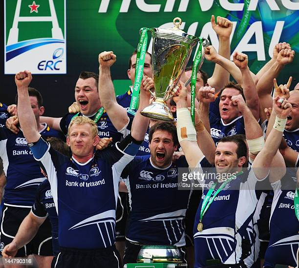 Leo Cullen of Leinster lifts the trophy with Shane Jennings after the Heineken Cup Final between Leinster and Ulster at Twickenham Stadium on May 19...