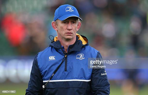 Leo Cullen the Leinster head coach looks on during the European Rugby Champions Cup match between Bath and Leinster at the Recreation Ground on...