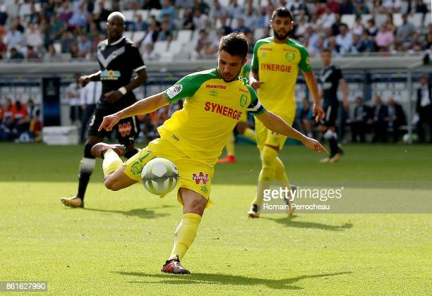 Leo Dubois of FC Nantes in action during the Ligue 1 match between FC Girondins de Bordeaux and FC Nantes at Stade Matmut Atlantique on October 15...