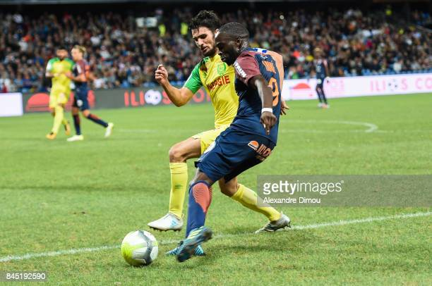 Leo Dubois of Nantes and Jonathan Ikone of Montpellier during the Ligue 1 match between Montpellier Herault SC and Nantes at Stade de la Mosson on...