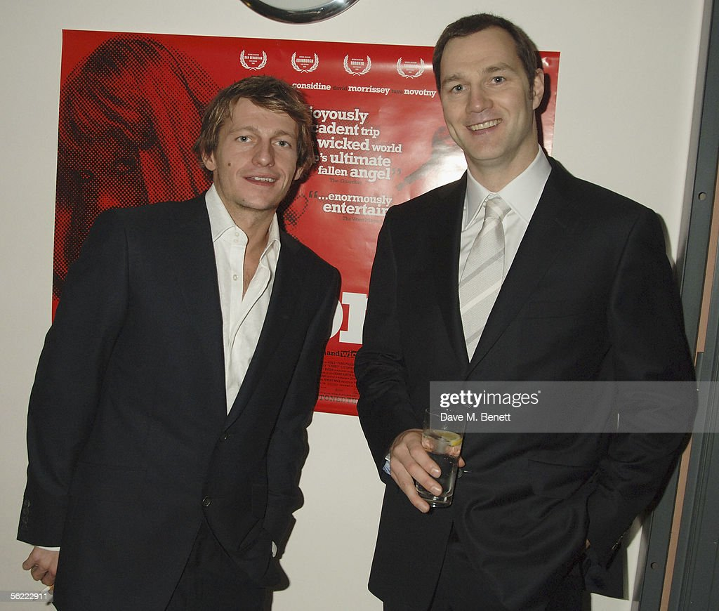 Leo Gregory and David Morrissey attend the aftershow party followlng the UK Premiere of 'Stoned,' at Century on November 17, 2005 in London, England. The British film chronicles the life and death of Rolling Stones co-founder Brian Jones, found drowned just weeks after being let go from the band.