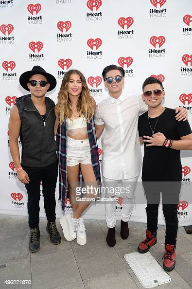 Leo Herrera Sofia Reyes Nesty Galguera and Monti Montanez pose at the iHeartRadio Fiesta Latina preshow presented by Sprint at Bayfront Park...