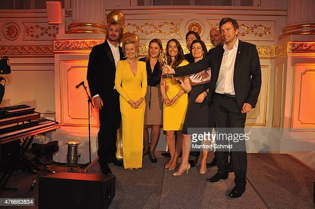 Leo Hillinger Elisabeth Guertler Markus Breitenecker and all winners of Puls 4 Team pose on stage during the ROMY 2015 Academy Award at Hofburg...