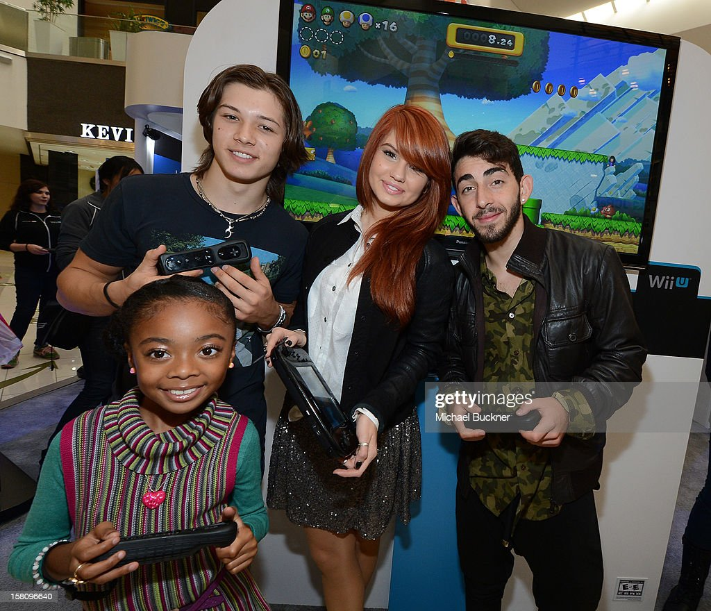 Leo Howard, Skai Jackson, Debby Ryan and Mateo Arias stars of Disney XD's hit series 'Kickin' It' gets ready to battle in the Wii U Showdown at Westfield Century City Mall in Los Angeles on December 9, 2012. Wii U is one of Nintendo's hottest items of the holiday season.