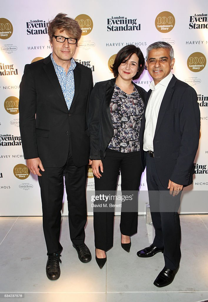 Leo Johnson, Londoner's Diary editor Joy Lo Dico and Mayor of London <a gi-track='captionPersonalityLinkClicked' href=/galleries/search?phrase=Sadiq+Khan&family=editorial&specificpeople=3431876 ng-click='$event.stopPropagation()'>Sadiq Khan</a> attend the London Evening Standard Londoner's Diary 100th Birthday Party in partnership with Harvey Nichols at Harvey Nichols on May 25, 2016 in London, England.
