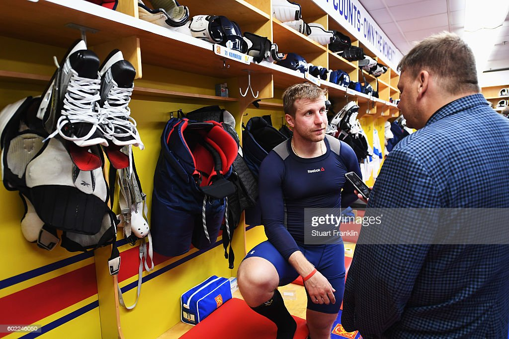 Leo Komarov of Finland looks on during an interview after practice for Team Finland at the Hartwell Areena on September 7, 2016 in Helsinki, Finland.