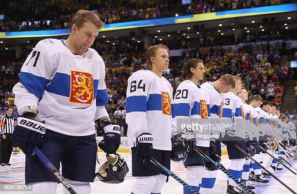 Leo Komarov of Team Finland lines up prior to the game against Team Sweden during the World Cup of Hockey 2016 at Air Canada Centre on September 20...