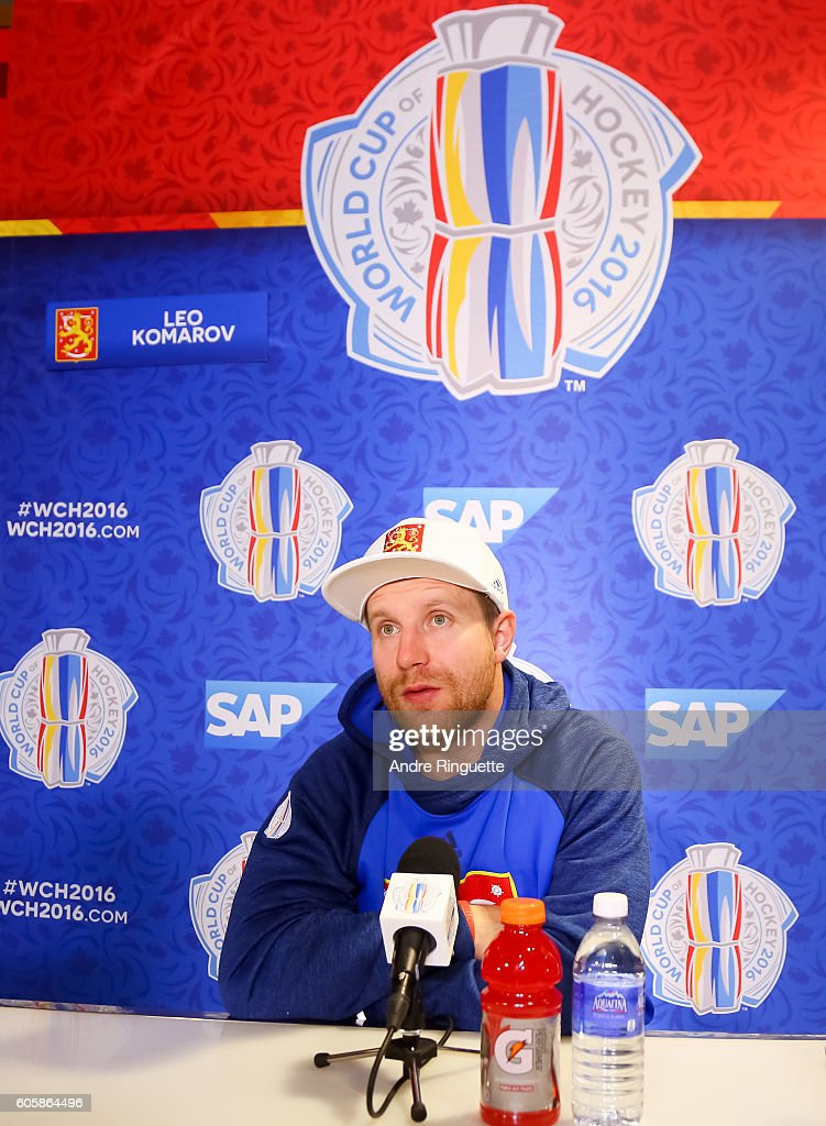 Leo Komarov #71 of Team Finland takes questions during media day at the World Cup of Hockey 2016 at Air Canada Centre on September 15, 2016 in Toronto, Ontario, Canada.