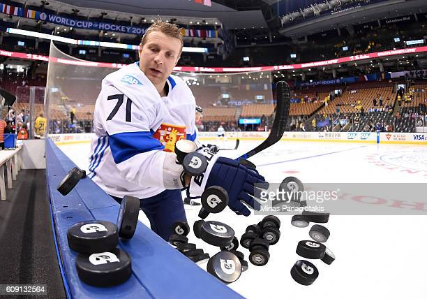 Leo Komarov of Team Finland warms up prior to a game against Team Sweden during the World Cup of Hockey 2016 at Air Canada Centre on September 20...
