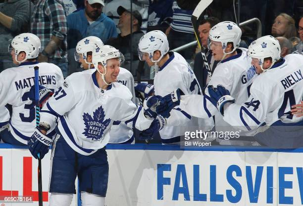 Leo Komarov of the Toronto Maple Leafs celebrates a goal during an NHL game against the Buffalo Sabres at the KeyBank Center on April 3 2017 in...
