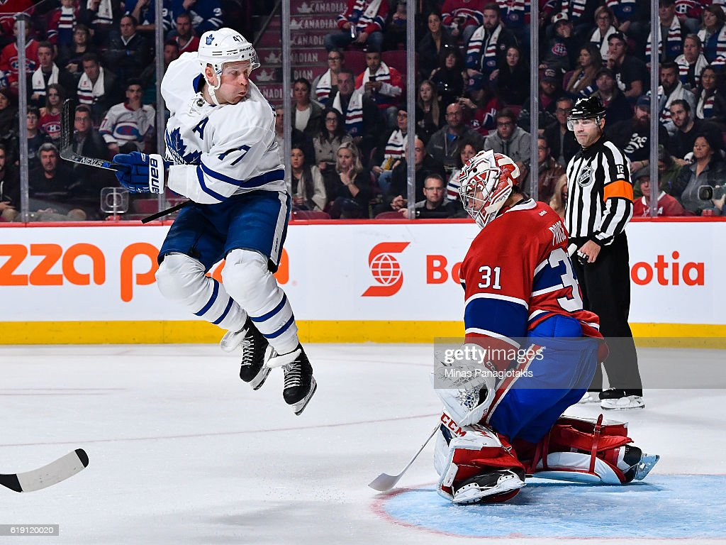 Leo Komarov #47 of the Toronto Maple Leafs jumps in front of Carey Price #31 of the Montreal Canadiens during the NHL game at the Bell Centre on October 29, 2016 in Montreal, Quebec, Canada. The Montreal Canadiens defeated the Toronto Maple Leafs 2-1.