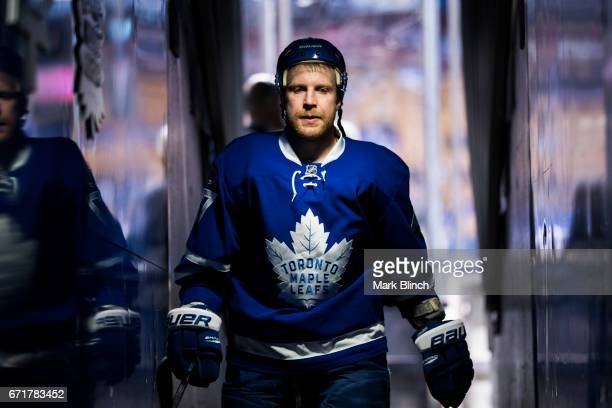 Leo Komarov of the Toronto Maple Leafs walks off the ice prior to playing the Washington Capitals in Game Four of the Eastern Conference First Round...