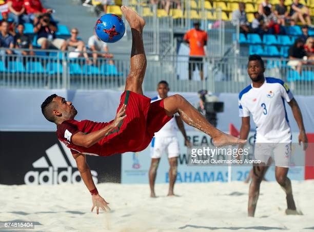 Leo Martins of Portugal attempts a scissor kick shot on goal during the FIFA Beach Soccer World Cup Bahamas 2017 group C match between Portugal and...