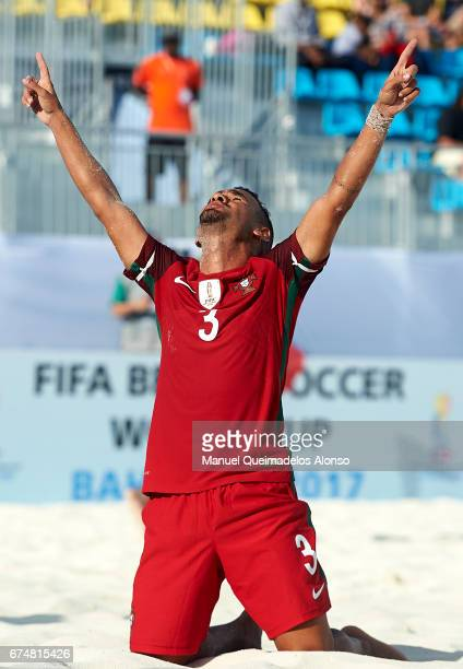 Leo Martins of Portugal celebrates a goal during the FIFA Beach Soccer World Cup Bahamas 2017 group C match between Portugal and Panama at Bahamas...