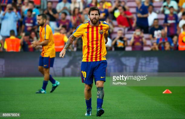 Leo Messi alone without Neymar Jr and Luis Suarez before La Liga match between FC Barcelona v Alaves in Barcelona on September 10 2016 Photo Edi...