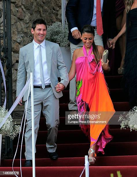 Leo Messi and Antonella Roccuzzo attend the wedding of Spanish football player Andres Iniesta and Ana Ortiz at Tamarit Castle on July 8 2012 in...