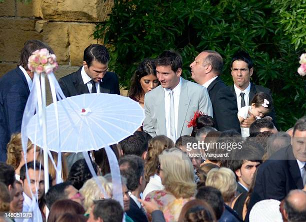 Leo Messi and Cesc Fabregas attend the wedding of Andres Iniesta and Ana Ortiz at the Castillo de Tamarit on July 8 2012 in Tarragona Spain