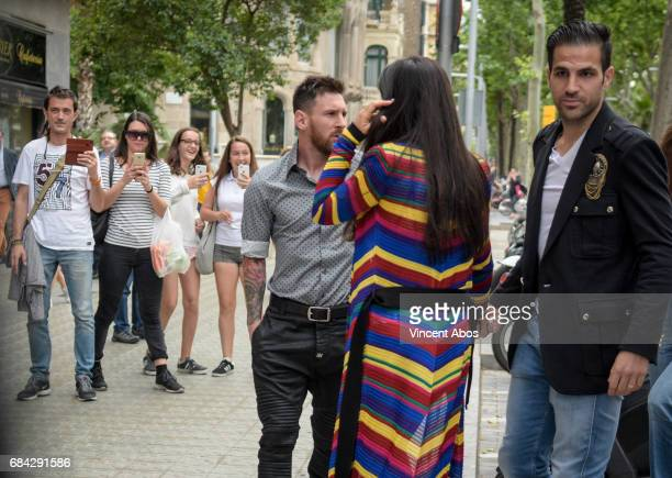 Leo Messi and Cesc Fabregas seen arriving at the new Sarkany Boutique opening on May 17 2017 in Barcelona Spain