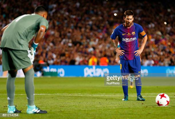 Leo Messi and Keylor Navas during the spanish Super Cup match between FC Barcelona v Real Madrid in Barcelona on August 13 2017