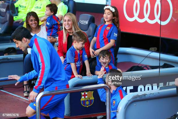Leo Messi and Luis Suarez with his wifes Antonella Roccuzzo anSofia Balbi with his children during the match between FC Barcelona and Villarreal CF...