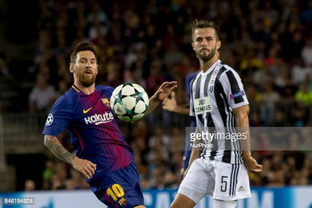 Leo Messi and Miralem Pjanic during the UEFA Champions League match between the FC Barcelona and Juventus in the Camp Nou Stadium in Barcelona Spain...