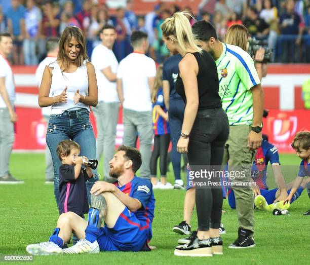 Leo Messi Antonella Roccuzzo their son Mateo Messi and Sofia Balbi attend the Copa del Rey Final match between FC Barcelona and Alaves FC at Vicente...